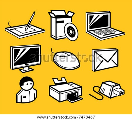 pc hardware and software icons set - stock vector