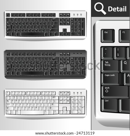 Pc keyboards. Different colors. Black, silver, white/ - stock vector