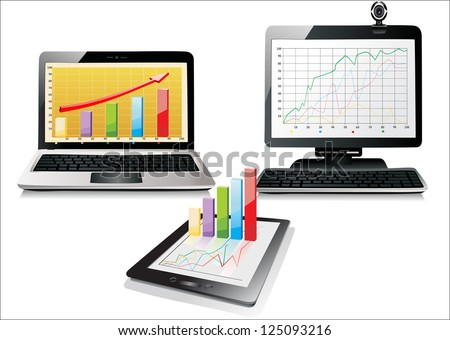 PC, laptop and tablet with business graph - stock vector