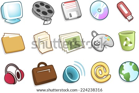 PC system icons Vector illustration cartoon. - stock vector