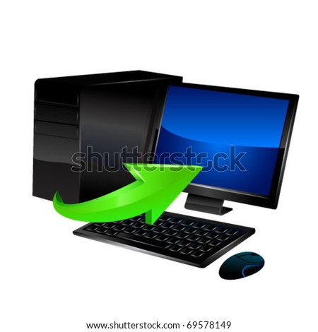 Pc with green arrow. Vector