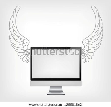 PC with Wings Isolated on Grey Gradient Background. Vector. - stock vector