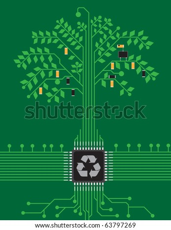 pcb tree - stock vector