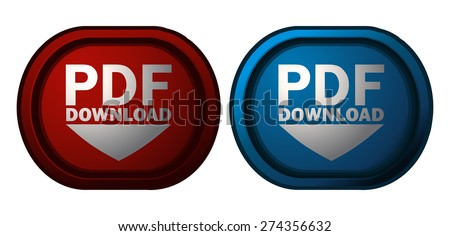 PDF Document Download Red and Blue Glossy Buttons, Vector Illustration isolated on White Background.  - stock vector