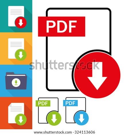 PDF file download icon set - stock vector