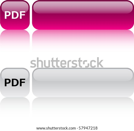 PDF glossy square web buttons. - stock vector