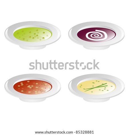 pea soup, beet soup, tomato soup and cream soup - stock vector