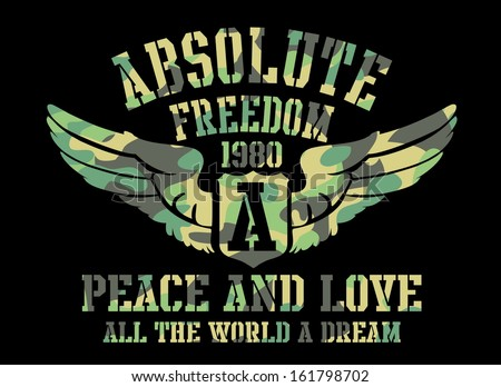 peace and love absolute freedom vector art - stock vector