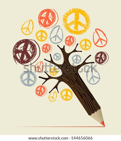 Peace and love diversity symbol pencil tree idea. Vector illustration layered for easy manipulation and custom coloring. - stock vector