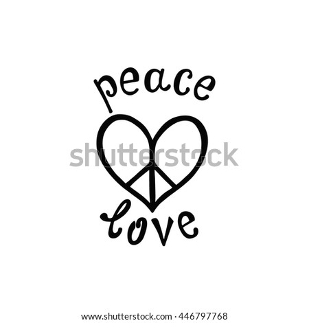 Quote About Peace And Love Extraordinary Peace Love Inspirational Quote Modern Calligraphy Stock Vector