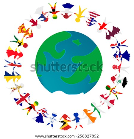 Peace concept with Earth globe and holding hands people patterned in the World's flags  - stock vector