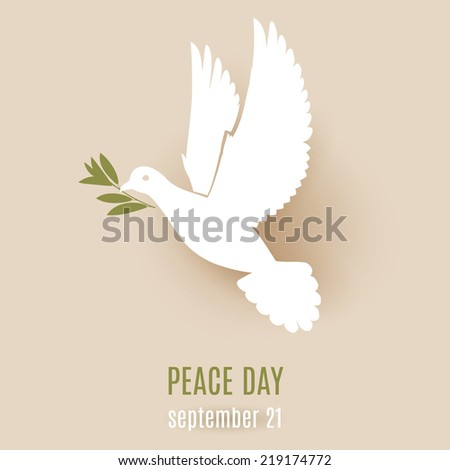 Peace day design with flying white dove with olive branch in its beak - stock vector