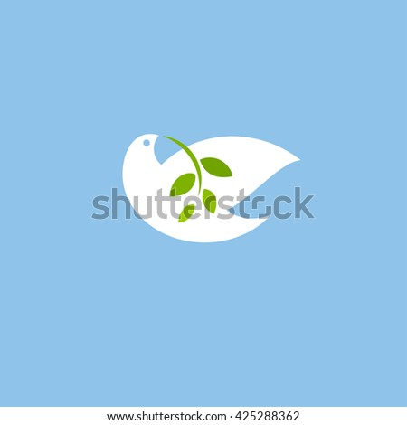 Peace dove with green branch on blue background. Flat style vector icon or logo - stock vector