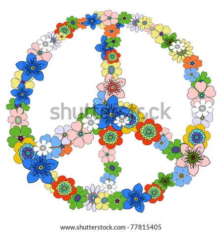 Peace floral symbol - stock vector