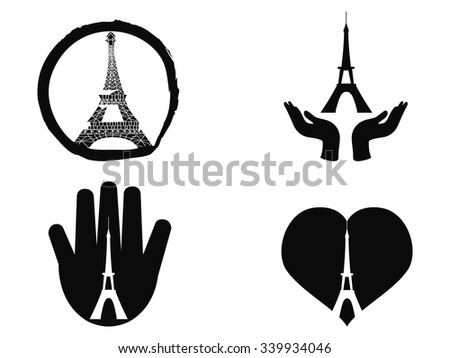 peace for Paris icons set - stock vector