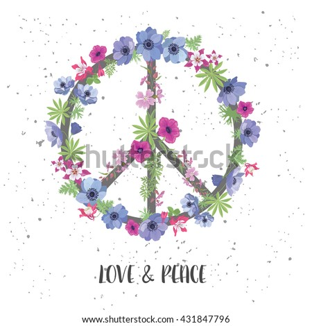 Peace Hippie Symbol with Flower on the white Background. Fashion Design for T-shirt. - stock vector