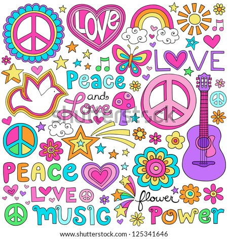 Peace Love and a Dove Flower Power Groovy Psychedelic Notebook Doodles Set with Butterfly, Peace Sign, Acoustic Guitar, Rainbow, Hearts, and More - stock vector