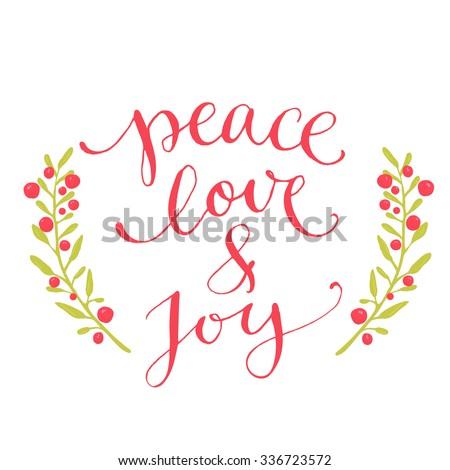 ... pen calligraphy. Red phrase with winter berries wreath. - stock vector