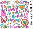 Peace Love and Music Flower Power Groovy Psychedelic Notebook Doodles Set with Butterfly, Flowers, Peace Sign, Acoustic Guitar, and More - stock photo