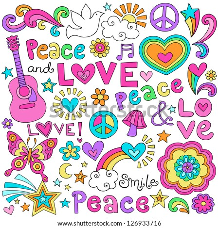 Peace Love and Music Flower Power Groovy Psychedelic Notebook Doodles Set with Butterfly, Flowers, Peace Sign, Acoustic Guitar, and More - stock vector
