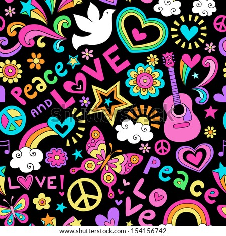 Peace, Love, and Music Seamless Pattern Groovy Retro Notebook Doodle Design- Hand-Drawn Illustration Background - stock vector