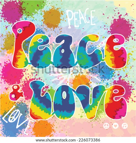 Peace & Love - Hippie style - stock vector