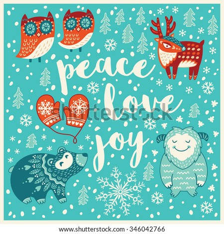 Peace, Love, Joy. Holiday wishes background with Typography, Lettering. Cartoon card in vector. Childish background - stock vector