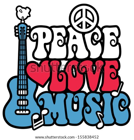 PEACE LOVE MUSIC text design with peace symbol, guitar,dove, heart and musical notes in red, white and blue. - stock vector
