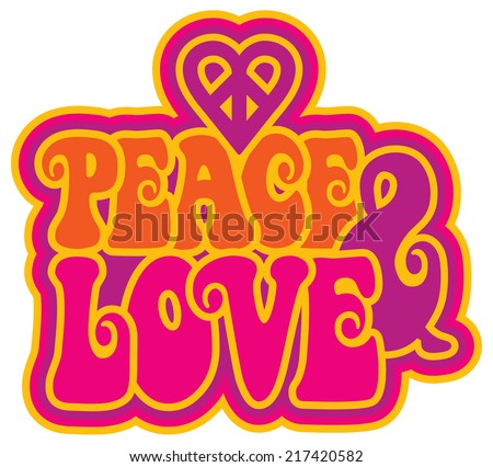 Peace & Love retro-style text design with a peace heart symbol. - stock vector