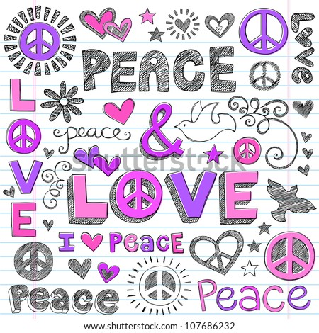 Peace & Love Sketchy Notebook Doodles Design Elements on Lined Sketchbook Paper Background- Vector Illustration - stock vector
