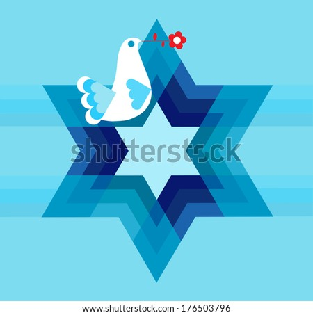 peace pigeon with star on blue - stock vector