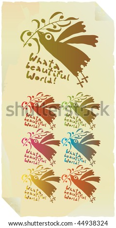 peace pigeons coloratura vertical - stock vector