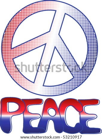 Peace Sign Text Red White Blue Stock Photo Photo Vector