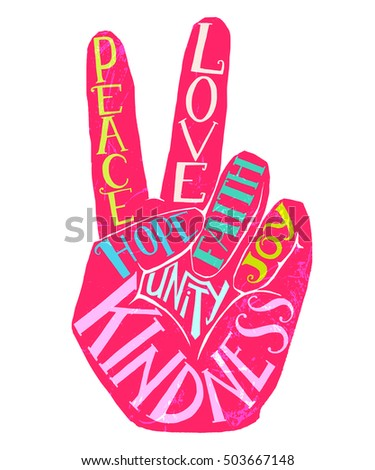 Peace Sign Creative Lettering Hand Drawn Design Perfect For Greeting Card T Shirt