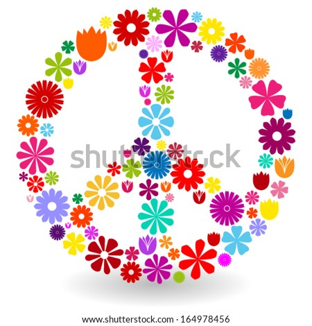 Peace sign or symbol made by colorful flowers with shadow on white - stock vector