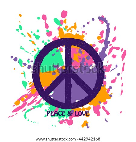 Peace Sign Over Abstract Colorful Paintbrush Stock Vector 442942168