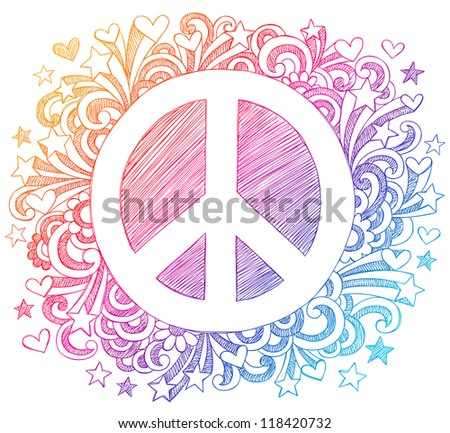 Peace Sign Sketchy Back to School Notebook Doodles Hand-Drawn Vector Illustration Design - stock vector