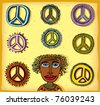 peace signs and Aboriginal illustration - stock vector
