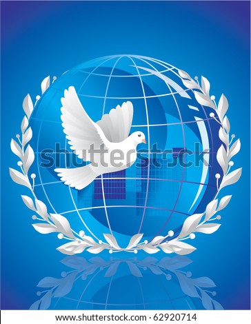peace symbol - a white pigeon over crystal globe - stock vector