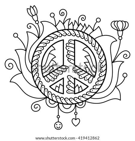 peace symbol coloring page vector