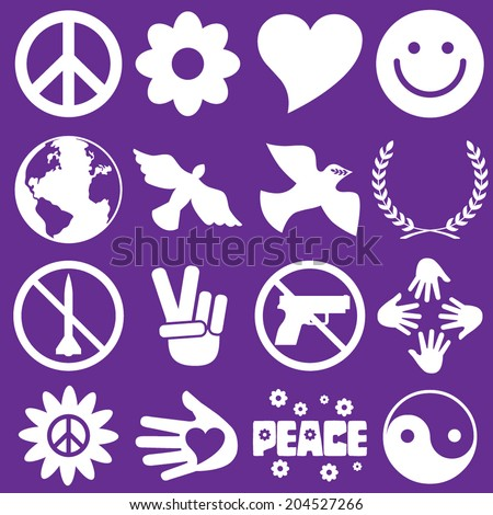 Peace Symbol Icons - stock vector