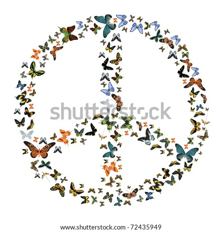 Peace symbol made from butterfly. vector illustration - stock vector
