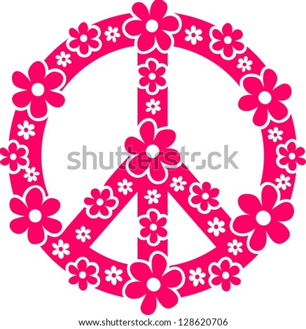 Peace symbol with flowers - Vector image - stock vector