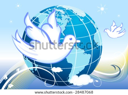 Peace to the World, with white doves. Vector file.