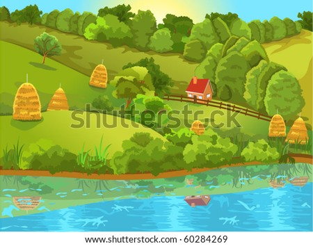 peaceful natural landscape - stock vector