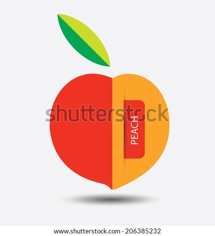 peach, fruit vector illustration - stock vector