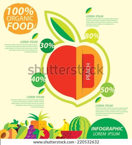 peach, infographics. fruits vector illustration. - stock vector