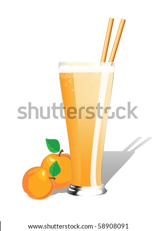 Peach smoothie  in tall glass with straws and fresh peaches. EPS10 vector format - stock vector