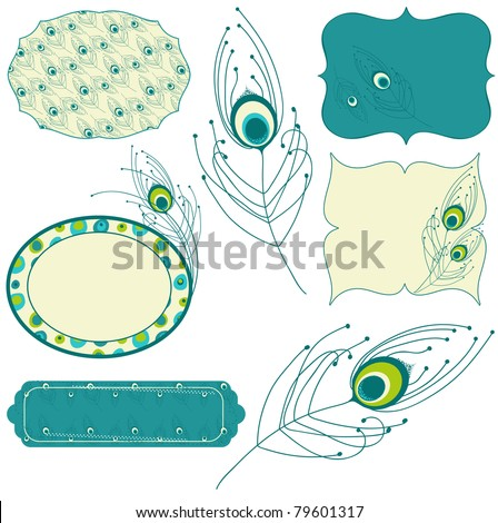 Peacock feather - design elements for scrapbook, invitation, background - stock vector