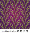 peacock feather east pattern violet green - stock vector